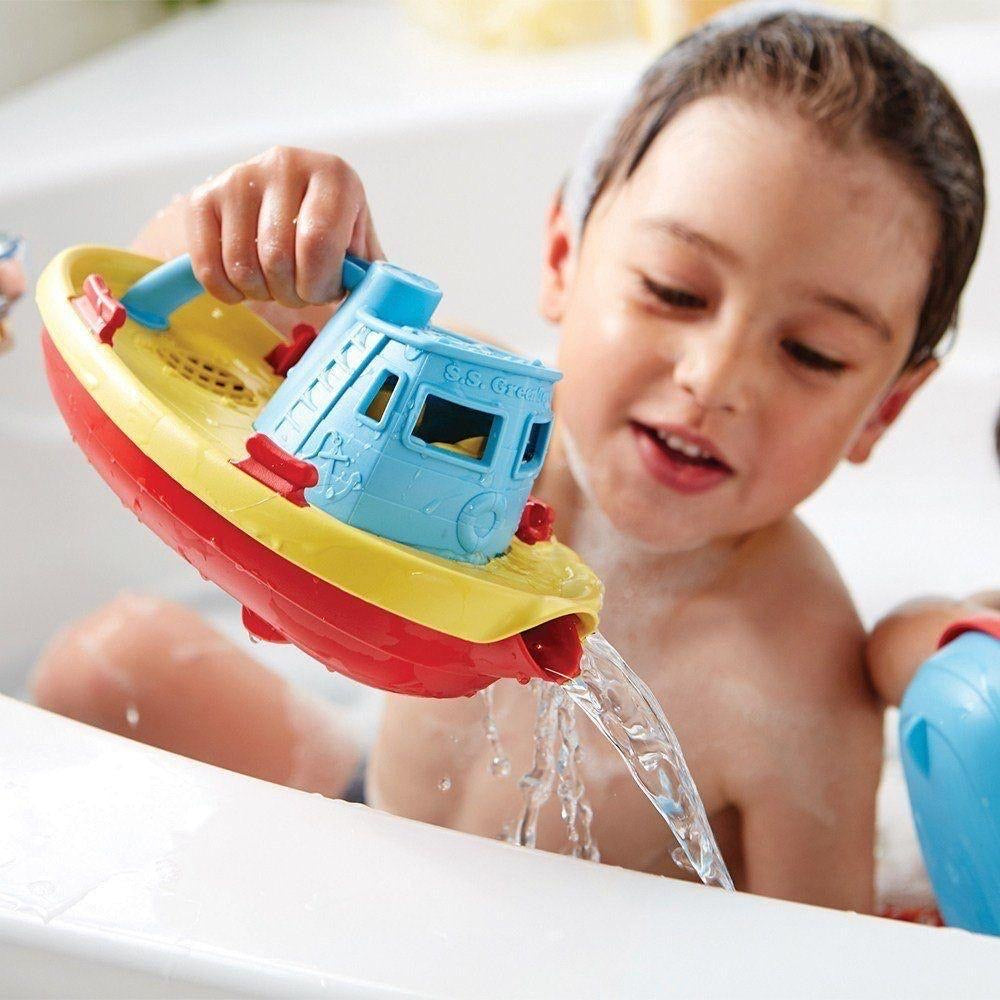 Green Toys Recycled Plastic Tug Boat - Blue Handle