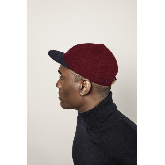 Béton Ciré Wool City Cap Dark Navy-Red Berry