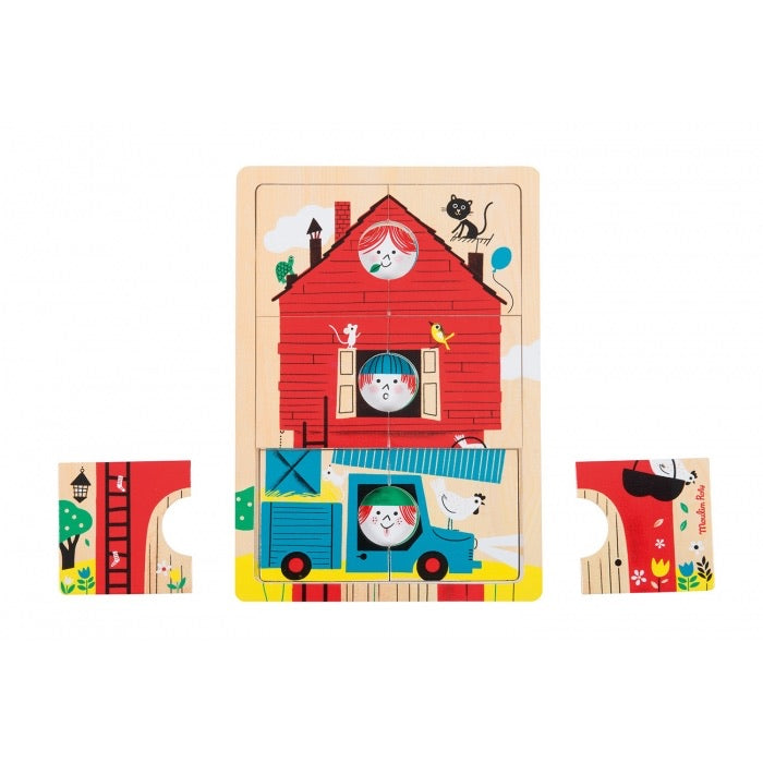 Moulin Roty 1, 2, 3 Here We Are 3 Level Wooden Puzzle