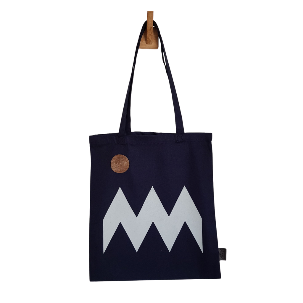Plinth Home Navy Blue Zig Zag Tote Bag