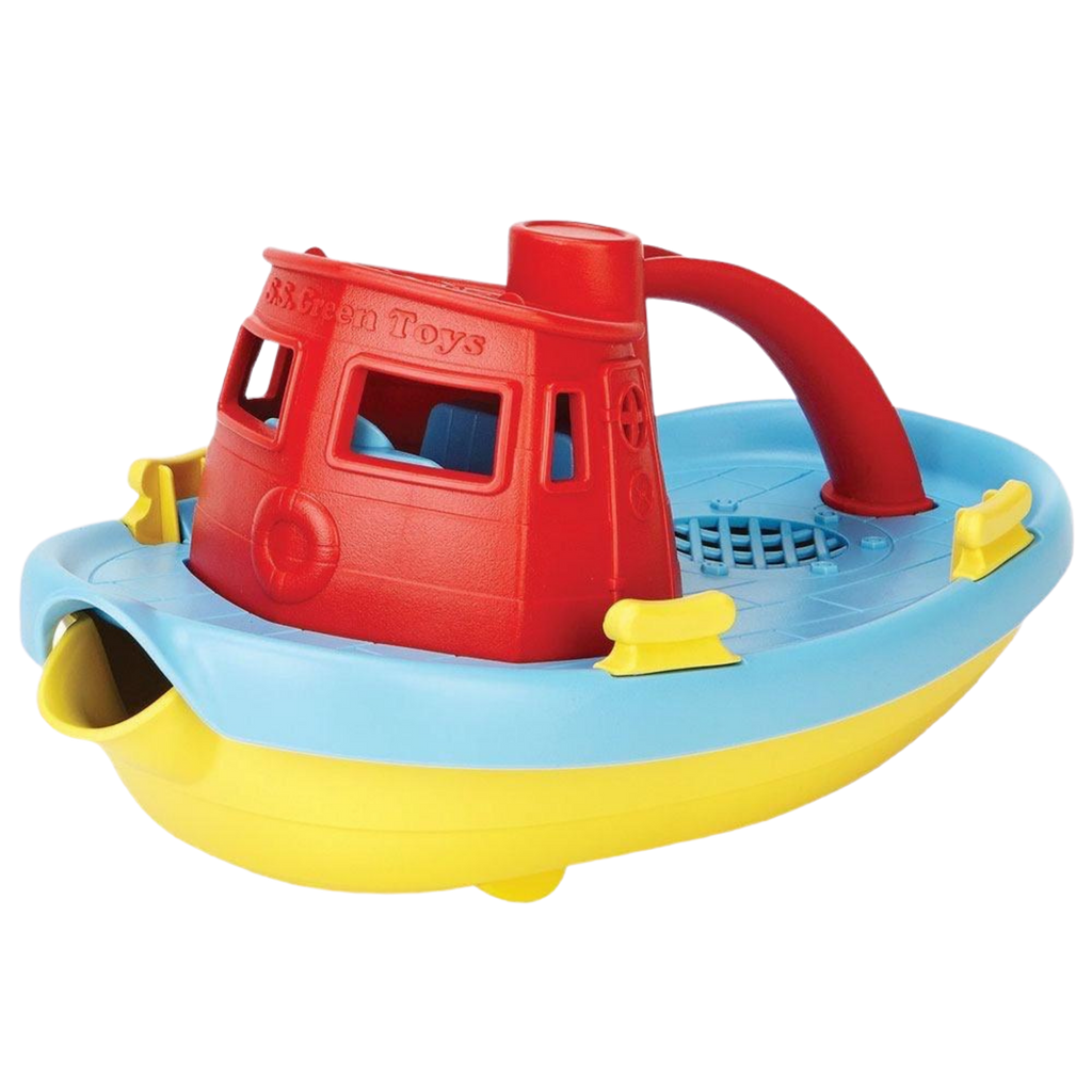 Green Toys Recycled Plastic Tug Boat - Red Handle