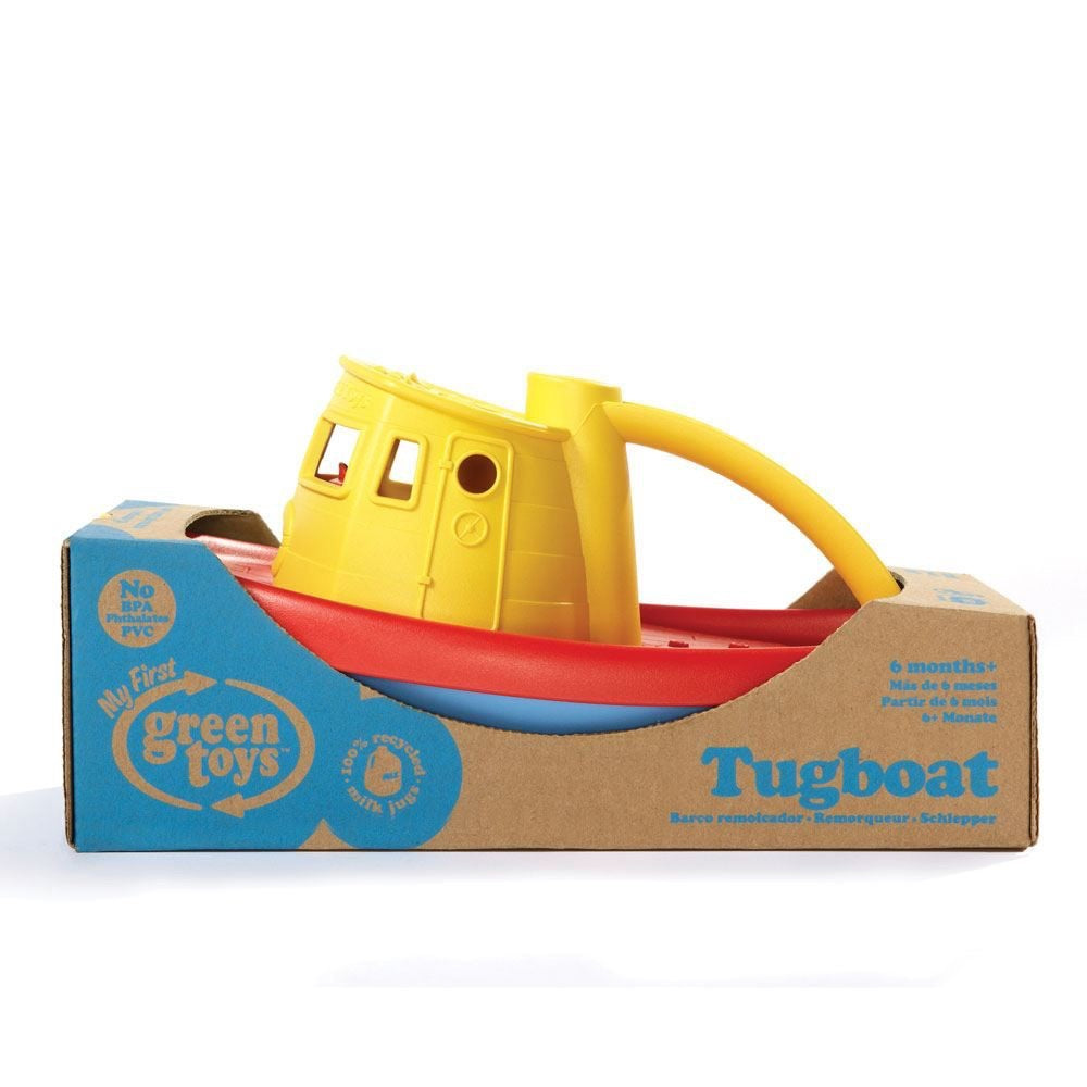 Green Toys Recycled Plastic Tug Boat - Yellow Handle
