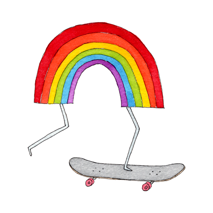 Tattly 2-Pack Rainbow Skateboard Tattoo