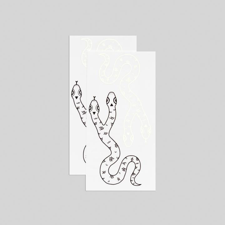 Tattly 2-Pack Two Headed Snake Glow-in-the-Dark Tattoo