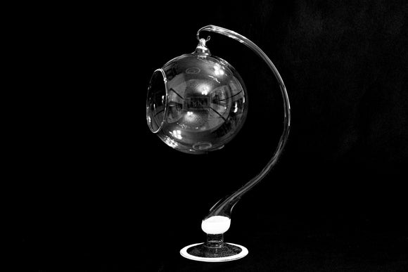 CLEAR GLASS DISPLAY SPHERE AND ORNAMENT STAND - LARGE