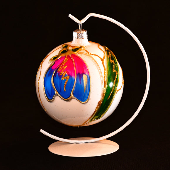 Hand painted glass ball with a flower