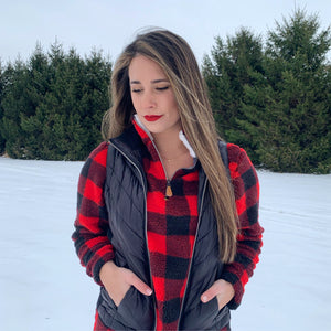 """Buffalo Plaid"" Fleece Pullover"