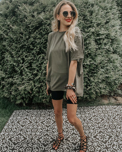 """Oversized Distressed"" Olive T"