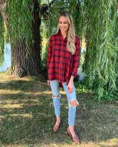 """Ravishing Red"" Plaid Top"