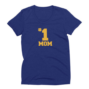 Womens tri-indigo tri-blend #1 Mom t-shirt