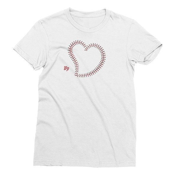 Women's White Welles Park Baseball Large Heart t-shirt