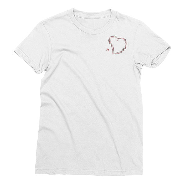 Women's White Welles Park Baseball Pocket Heart t-shirt