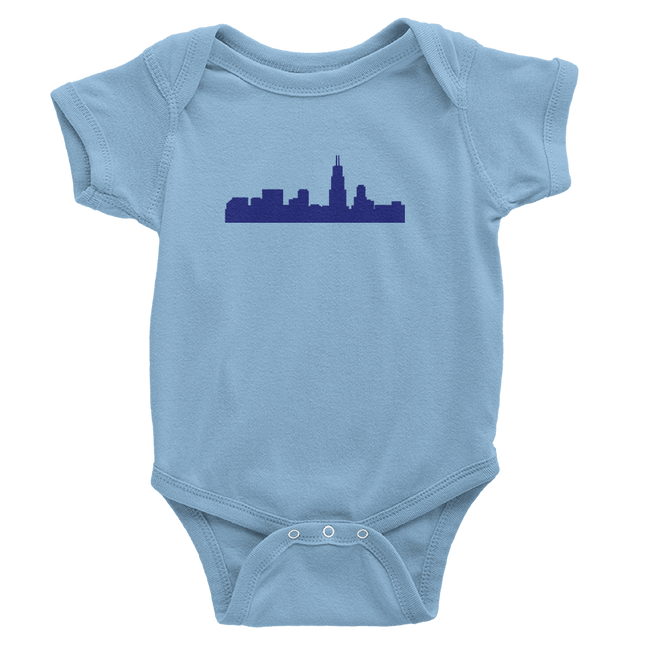 Chicago Skyline Onesie Baby Blue with Royal Blue Skyline