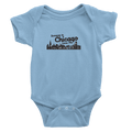 Baby Blue Onesie with Someone in Chicago Loves me printed in black