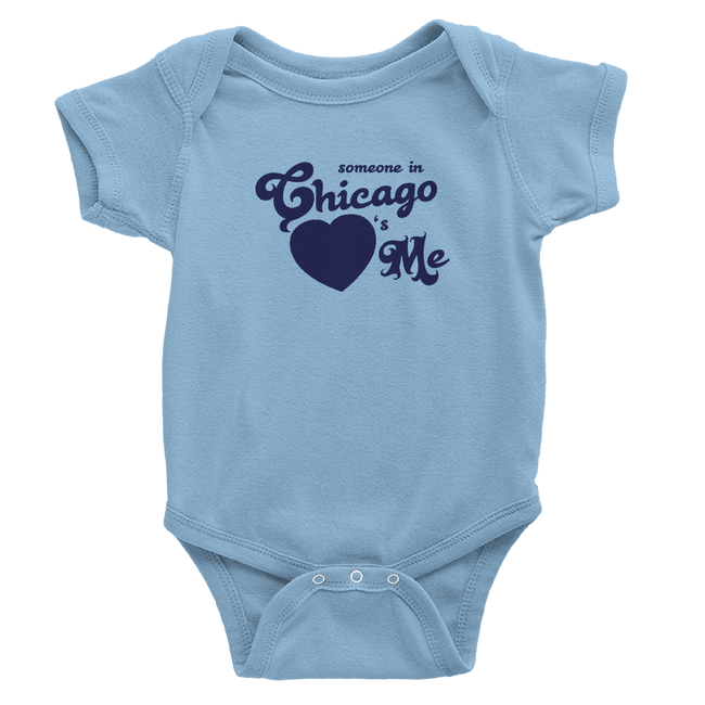 baby blue onesie with royal blue chicago hearts me design