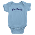 Baby Blue onesie with Chi-Town Est. 1837 logo in Royal Blue