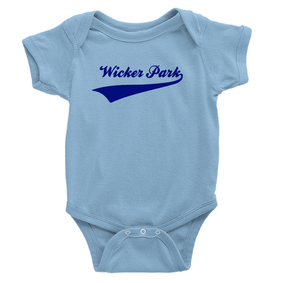 baby blue onesie with royal blue wicker park design