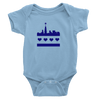 Baby blue onesie with Festive chicago flag skyline design in royal blue