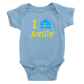 Baby blue onesie with aville logo in yellow and royal blue