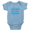 Baby Blue Chicago onesie with baby blue and red flag and skyline design