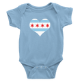 Babies Chicago Flag Heart Babies The T-Shirt Deli, Co. Baby Blue