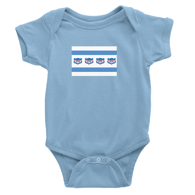 Baby Blue onesie with Cubs Madden Flag logo