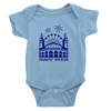 Baby Blue onesie with Royal Blue Navy Pier Design