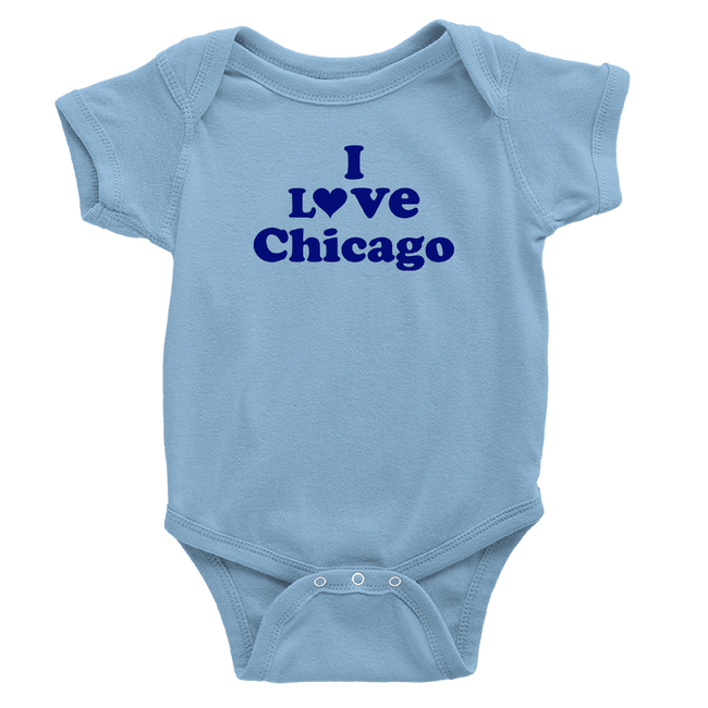 Baby Blue onesie with I love Chicago design in Royal Blue
