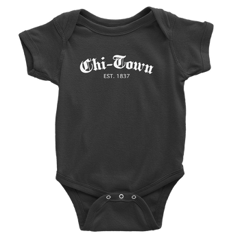 Black onesie with Chi-Town Est. 1837 logo in white