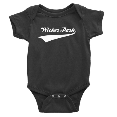 Black onesie with white wicker park sports design