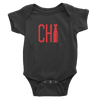 Black onesie with red Chi cup logo