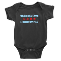 Black baby onesie with chicago distressed flag baby blue and red design