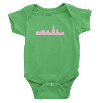 Chicago Skyline Onesie Green with Pink Skyline