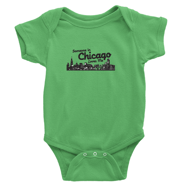 Grass Green Onesie with Someone in Chicago Loves me printed in black