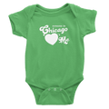 Grass green onesie with one chicago hearts me design