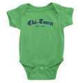 Grass green onesie with Chi-Town Est. 1837 logo in Royal Blue