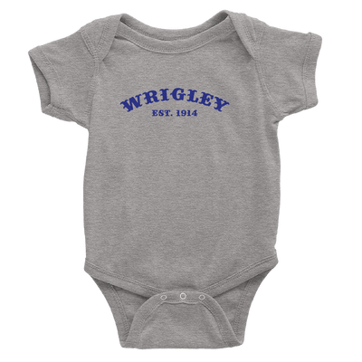 Heather Grey onesie with royal blue Wrigley field design