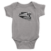 Heather Grey onesie with Chicago train in black and white