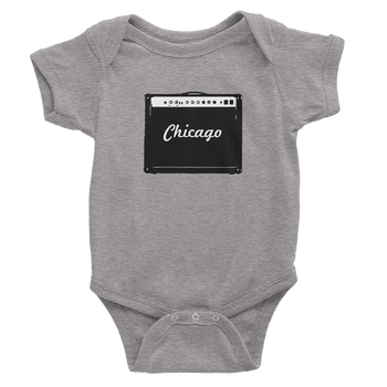 Heather Grey onesie with Black amp design