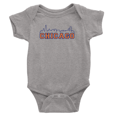 Heather grey baby onesie with Chicago bears color skyline design
