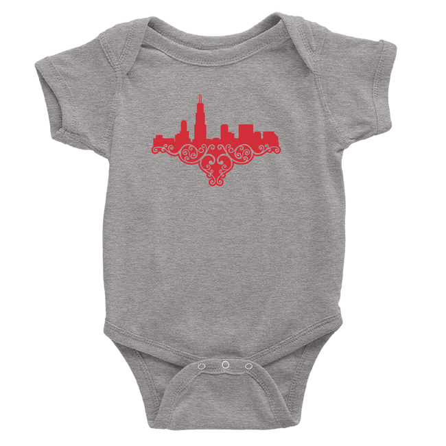 Heather grey baby onesie with red chicago skyline design