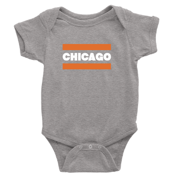 Grey baby onesie with Chicago Ditka Design in orange and white
