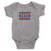 Heather Grey Baby Onesie with Chicago Bears Colored Flag