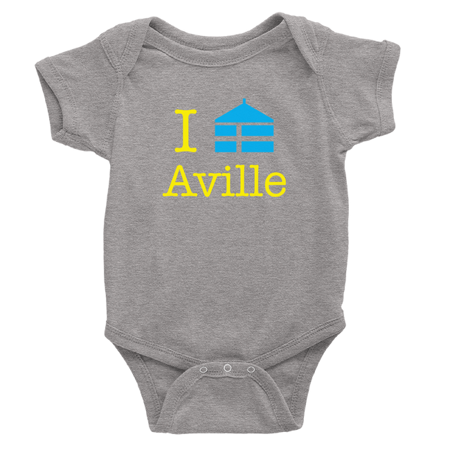 heather grey onesie with aville logo in yellow and royal blue