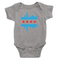 Heather Grey Chicago onesie with baby blue and red flag and skyline design