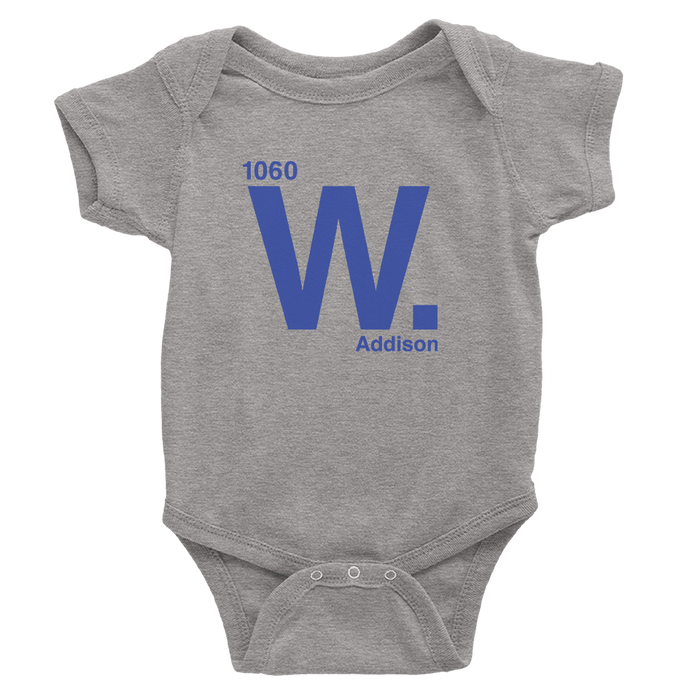 Heather grey onesie with royal blue cubs address design