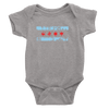 Heather Grey baby onesie with distressed chicago flag baby blue and red design