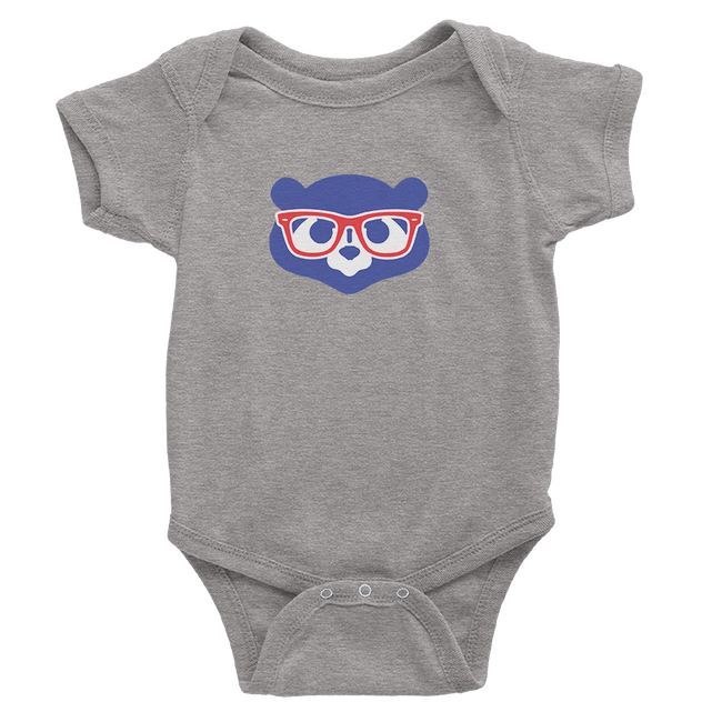 Heather grey onesie with madden glasses logo.
