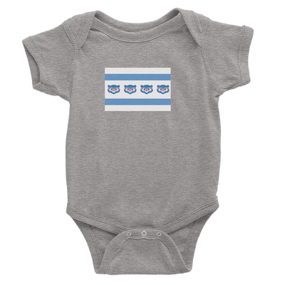 Heather Grey onesie with Cubs Madden Flag logo