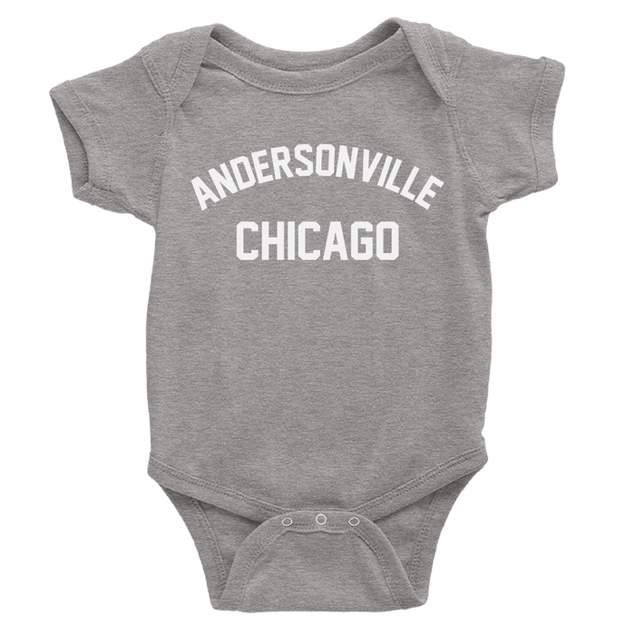 Heather Grey Onesie with Andersonville Design in White